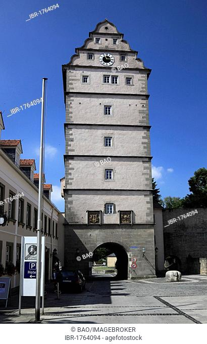 Hohntor gate tower, Bad Neustadt an der Saale, Landkreis Rhoen-Grabfeld district, Lower Franconia, Bavaria, Germany, Europe