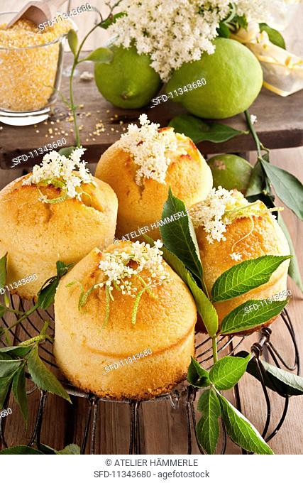 Corncakes with lemon and elderflower syrup