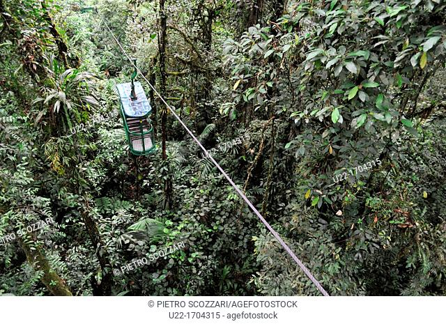 San José Costa Rica: 'gondola' iron carriage through the jungle of the Rain Forest Adventure, near Braulio Carrillo National Park
