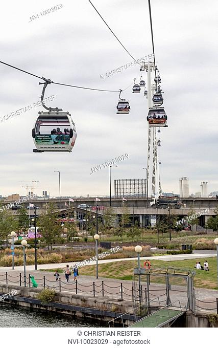 Emirates Air Line cable car between Greenwich and Docklands, London, United Kingdom