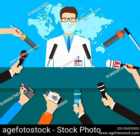 Press conference, world live tv news, interview. doctor with medical mask. hands of journalists with microphones. vector illustration in flat style on blue...