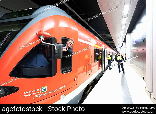 11 February 2020, Berlin: The driver of a special train is waiting before departure from platform 1 of the station of the future Berlin Brandenburg Airport