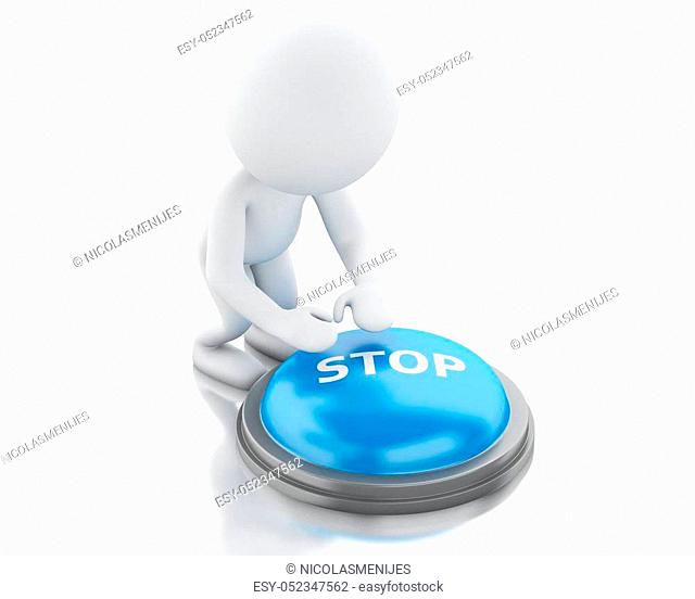 3d renderer image. White people push STOP button. Isolated white background