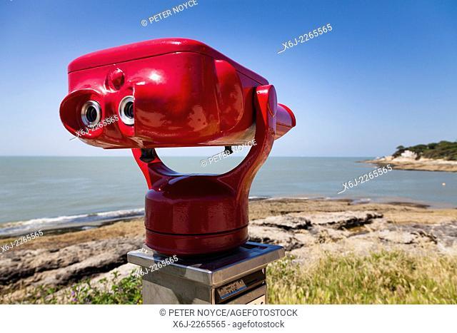Coin Operated Binoculars overlooking the seaside coast
