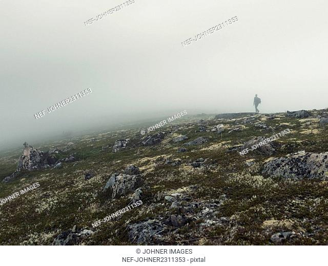 Man walking in foggy landscape
