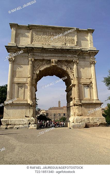 Rome Italy  Architectural detail of the Arco di Tito in the Roman Forum from the historic city of Rome