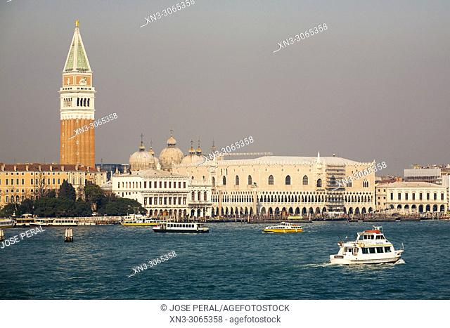 Bell Tower or Campanile, Ducale Palace, San Marcos square, Saint Marks Square, St Mark's square, Venice, Veneto, Italy, Europe