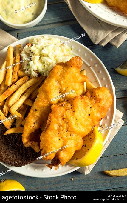 Homemade Beer Battered Fish Fry with Coleslaw and Chips