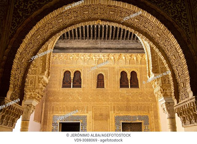 Palacios Nazaries. Nasrid Palace. Alhambra, UNESCO World Heritage Site. Granada City. Andalusia, Southern Spain Europe