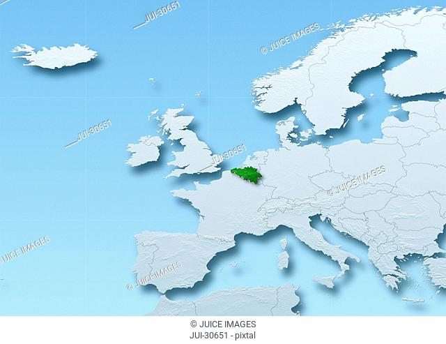 Belgium surface, map, Western Europe, grey, blue, physical, political