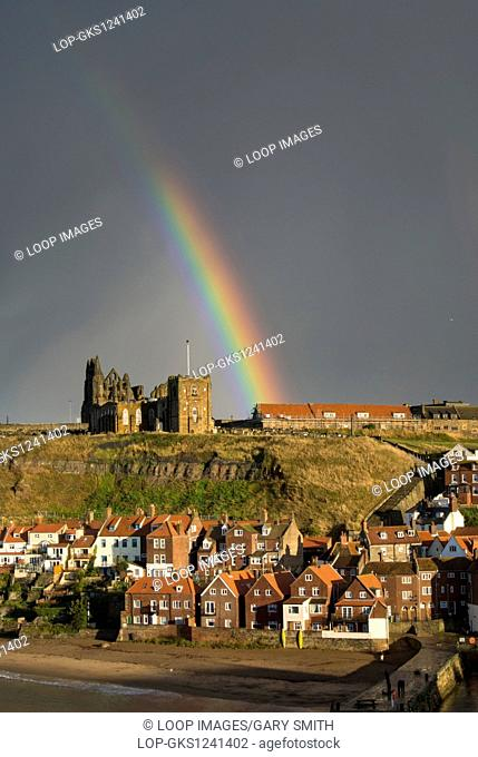 Rainbow over the church and abbey in Whitby
