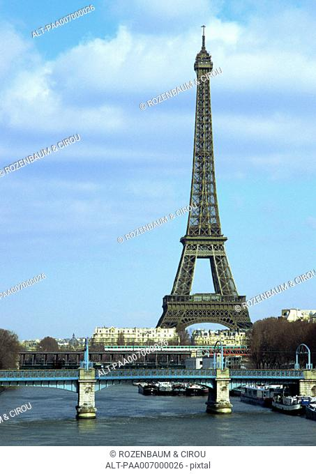 France, Paris, Eiffel Tower and River Seine
