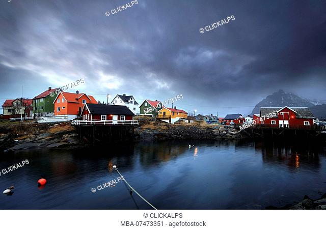 The beautiful fisherman Village of Henningsvær, with the Robur houses, Lofoten Islands in Norway