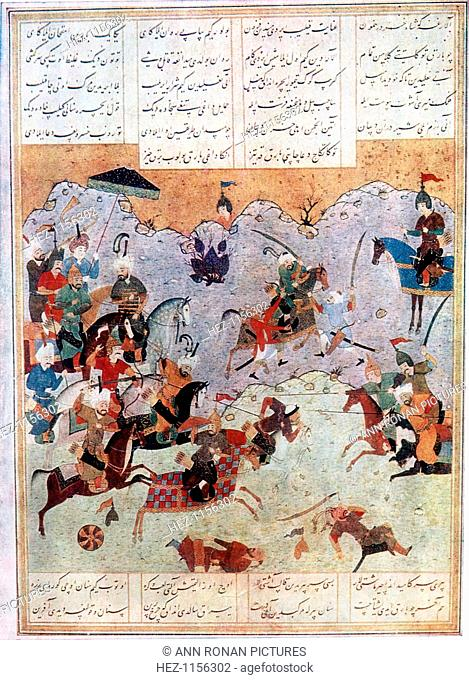Battle between Alexander the Great and the Persian king Darius III, 4th century BC. Illustration after a Persian manuscript made in the Middle Ages or later