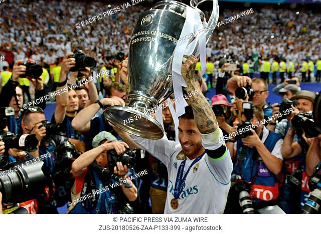 May 26, 2018 - Kiev, Kiev, Ukraine - KYIV, UKRAINE - MAY 26, 2018: Real Madrid's Sergio Ramos lifts the trophy during the Champions League Final soccer match...
