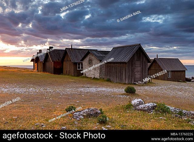 Fishing village Helgumannen, evening light, Sweden, Farö island