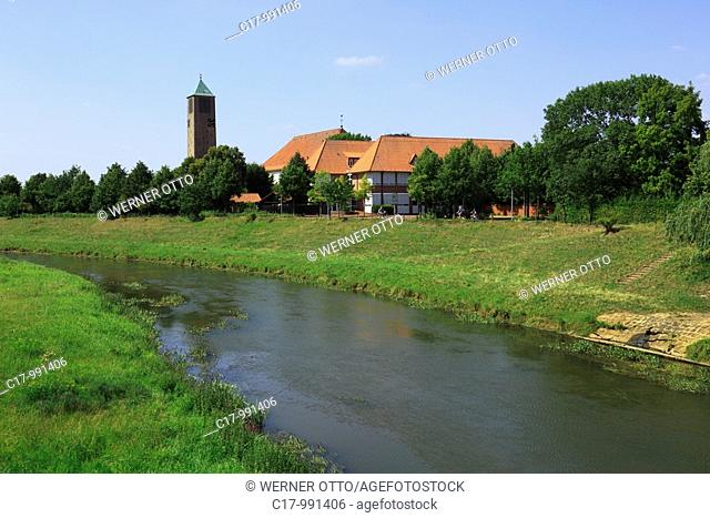 Germany, Loeningen, Grosse Hase, Hase Valley, Oldenburger Muensterland, Lower Saxony, panoramic view, Hase river landscape and parish church Saint Vitus