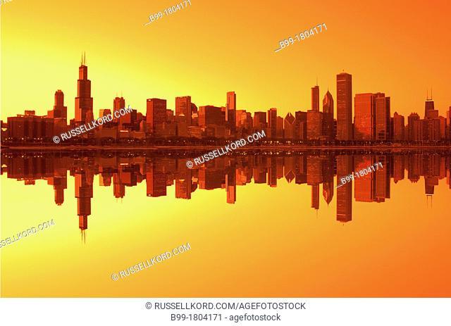 Lake Shore Skyline Downtown Chicago Illinois USA