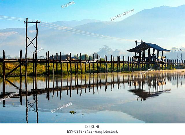 Maing Thauk Wooden Bridge, Inle Lake, Shan State, Myanmar