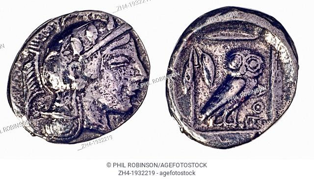 Ancient Greek Coin (reproduction). Silver Didrachm of Athens from c460 BC. Obverse: Head of Athena. Reverse: Owl