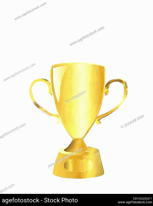 Watercolor golden cup illustration over white background