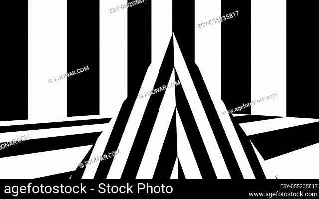 Abstract background with black and white stripes. 3d rendering
