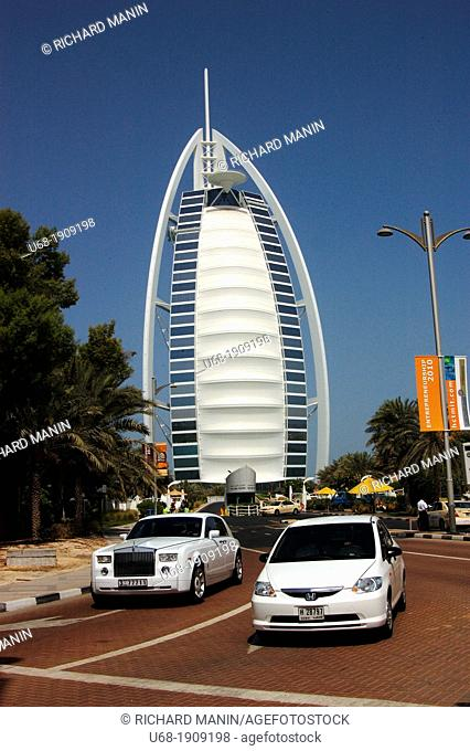 United Arab Emirates, Dubai. In the luxurious complex of Madinat Jumeirah situated on the Persian Gulf, there is the luxury hotel called Burj al Arab