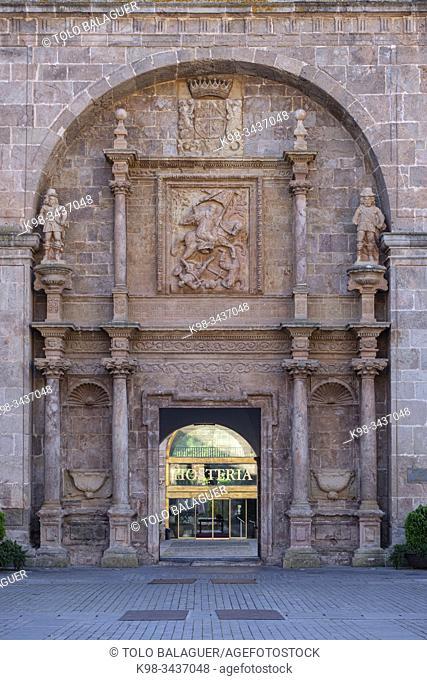 puerta barroca del siglo XVII, Real Monasterio de San Millán de Yuso, mandado construir en el año 1053 por el rey García Sánchez III de Navarra