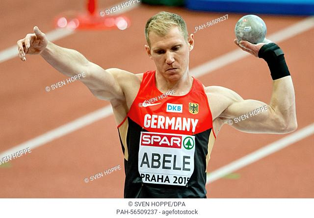 Arthur Abele of Germany in action during the men's Heptathlon shot put at the IAAF European Athletics Indoor Championships 2015 at the O2-Arena in Prague
