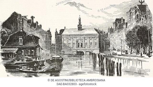 Scene of the Stock Market in Amsterdam, Netherlands, illustration from L'Illustration, Journal Universel, No 99, volume IV, January 18, 1845