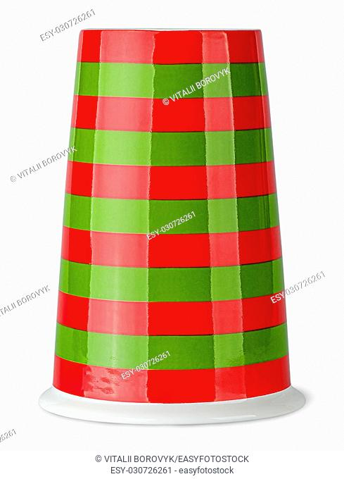 Red and green striped cup without handle inverted isolated on white background