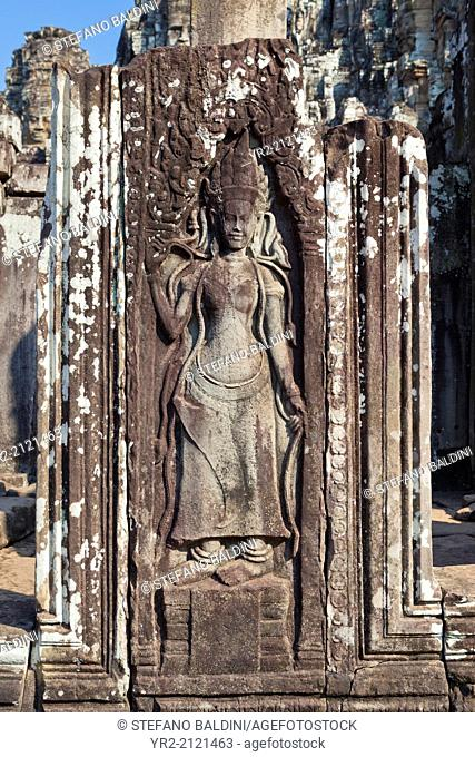 Original bas relief of an Apsara from the Bayon, Angkor Thom, Siem Reap, Cambodia