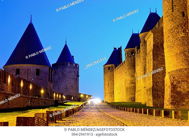 Bastions in the walls of Carcassone city, Languedoc-Roussillon, France