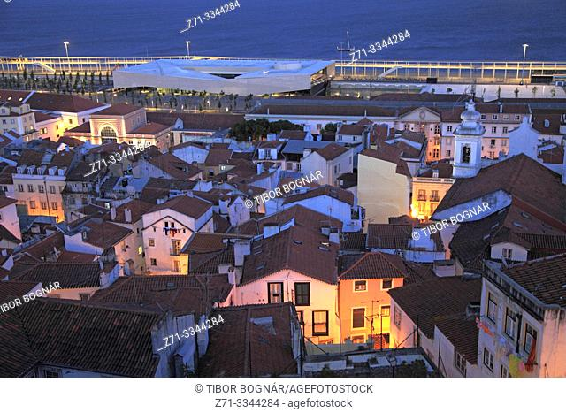 Portugal, Lisbon, Alfama, skyline, general view, night, cruise terminal,