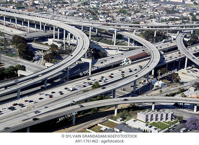 USA, California, city of Los Angeles, aerial photography, interstate 101 and Santa Monica freeways intersection