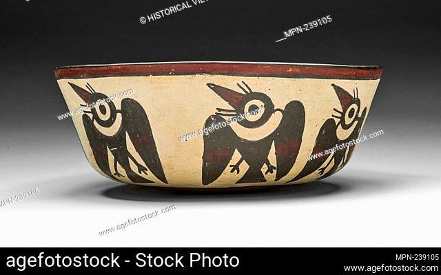 Bowl Depicting Vencejo Birds - 180 B.C./A.D. 500 - Nazca South coast, Peru - Artist: Nazca, Origin: Peru, Date: 180 BC-500 AD, Medium: Ceramic and pigment