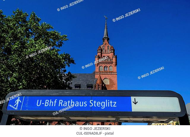 Rathaus Steglitz U-Bahn station with Rathaus Steglitz (City Hall) in background, Berlin, Germany