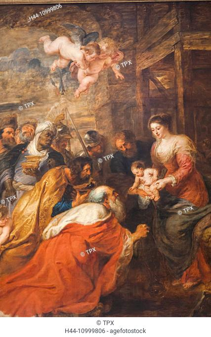 England, Cambridgeshire, Cambridge, King's College Chapel, The Altarpiece titled The Adoration of the Magi by Rubens