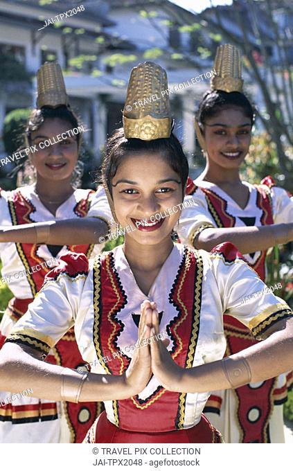 Female Kandy Dancer Dressed in Pooja Costume / Tradtional Costume, Kandy, Sri Lanka