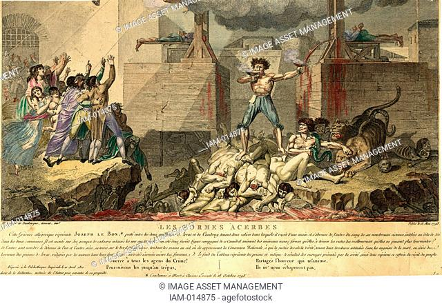 French Revolution, Reign of Terror: Joseph Le Bon, standing on a pile of decapitated bodies between two guillotines, drinking blood from one chalice as he fills...