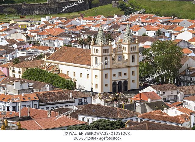 Portugal, Azores, Terceira Island, Angra do Heroismo, elevated view of the Santissimo Salvador da Se cathedral church