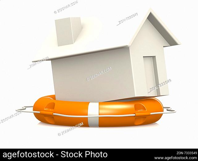 Life buoy with house concept image with hi-res rendered artwork that could be used for any graphic design