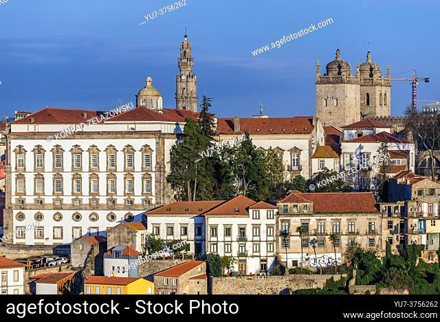 Bishop's Palace, Clerigos church tower and Se Cathedral in Porto city, second largest city in Portugal. View from Vila Nova de Gaia city