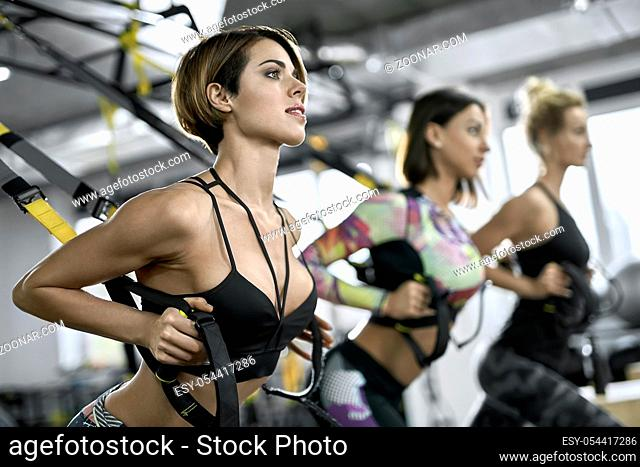 Beautiful girls are training with TRX straps in the gym on the windows background. They are wearing the sportswear: multicolored pants with tops and sleeveless