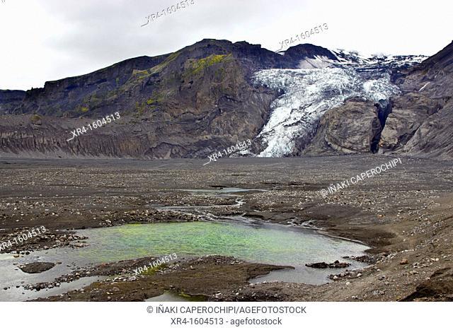 Gígjökull Glacier, Volcano Eyjafjallajokull, Iceland