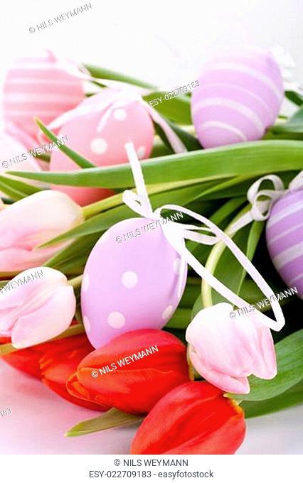 Rosane und rote Tulpen zu Ostern Muttertag Valentinstag mit Ostereiern nahaufnahme