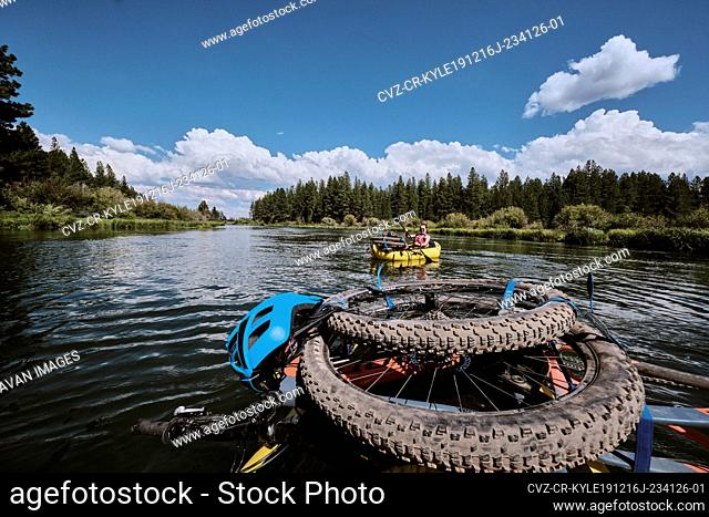 Bike pack rafting the Deschutes river in Central Oregon