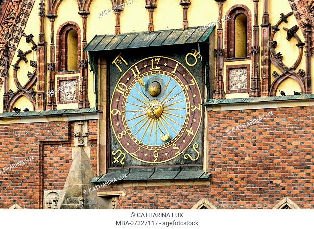 Poland, Wroclaw, old town, Rynek, old town Hall, Stary Ratusz, astronomical clock
