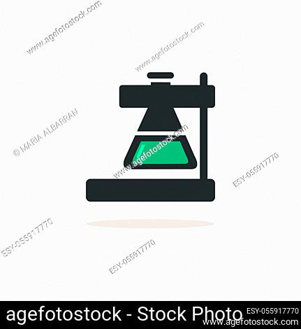 Laboratory conical flask. Icon with shadow on a beige background. Pharmacy flat vector illustration