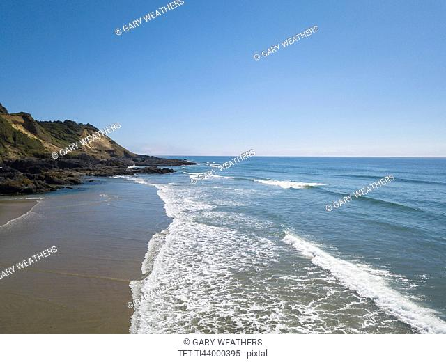 USA, Oregon, Headland, Scenic view of Ocean and blue sky